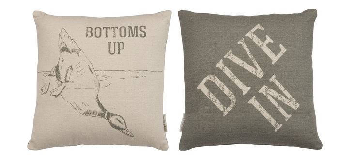 Bottoms Up | Throw Pillow | 15 x 15 | Modern Coastal Decor | Beach House | Primitive Decor | Modern Coastal | Dive In | Vintage Lake House