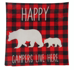 Happy Campers | Pillow Cover |  18 x 18 | Home Decor | Throw Pillow | Mama Bear Decor | Cabin Decor | Happy Camper Decor | Plaid Pillow| 18
