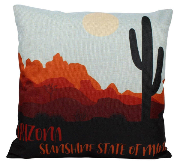 Arizona | Pillow Cover | Southwestern Art Decor | Saguara | Throw Pillow | Cactus Art | Southwestern Pillows | Rustic Decor | Pillows | 18""