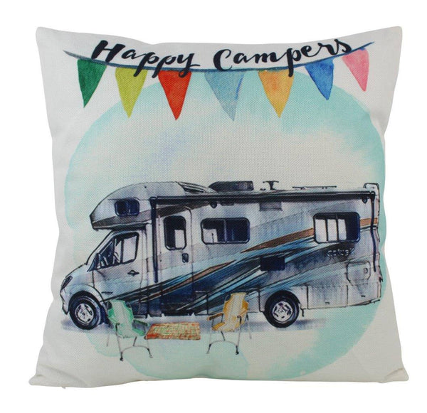 Happy Camper RV | Pillow Cover | 18 x 18 Pillow | Camper RV Decorations | Throw Pillow | Vintage Camper | Pillow | Home Decor | Wanderlust
