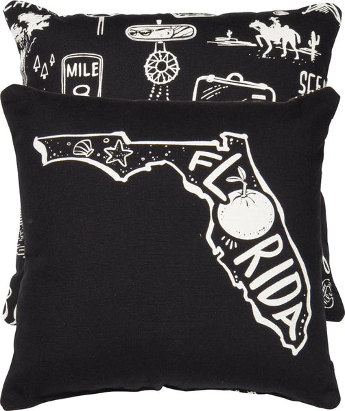 Florida | Throw Pillow | 10x10 | Modern Coastal Decor | Beach House Decor | Primitive Decor | Pillow | Travel | Florida State | FL