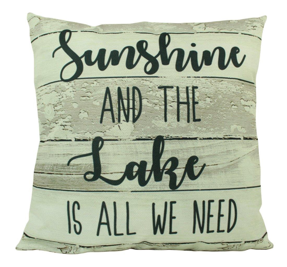 Sunshine and the Lake  |  Throw Pillow | 18x18 | Home Decor | Cabin Decor Ideas | Cabin Pillow | Lake Life | Vintage Lake Decor | Lake House