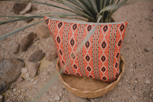 Southwestern Orange Green Pattern | Pillow Cover | Inspirational | Boho Decor | Dessert  | Gift for Her | Empowerment | Southwestern Decor |