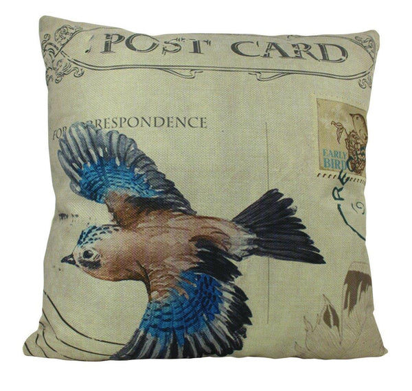 Bird | Postcard  | Pillow Cover | Our Nest | Postcard Pillow | Farmhouse Decor | Home Decor | Throw Pillow | 18 x 18 | Modern Farmhouse