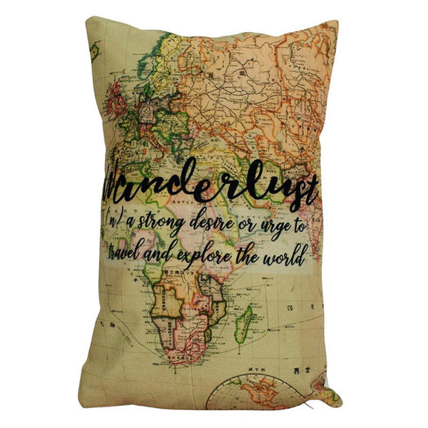 Wanderlust | Pillow Cover | Explore | Throw Pillow | Home Decor | Discover | Pillow | Rustic Home Decor | Explorer | 12 x 18 Pillow | Gift
