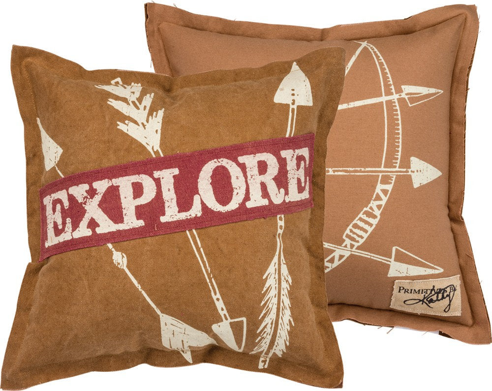 Wanderlust | Pillow Cover | Explore | Throw Pillow | Home Decor | Discover | Pillow | Rustic Home Decor | Explorer | 14 x 14 Pillow | Gift