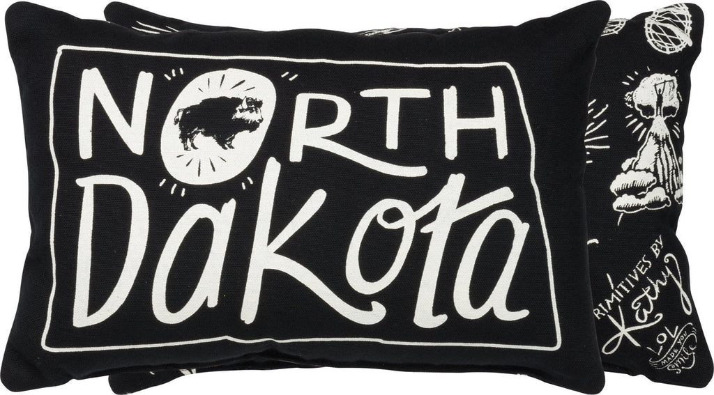 North Dakota | Throw Pillow | 12x8 | Modern Coastal Decor | Beach House Decor | North Dakota State