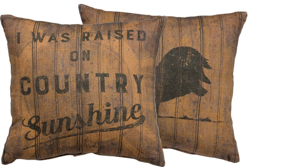 I was Raised on Country Sunshine | Pillow | Modern Farmhouse | Throw Pillow | Farm Decorating | 18 x 18 | Rooster | Vintage | Home Decor