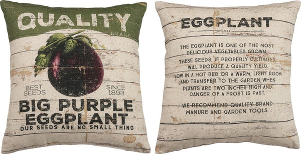Eggplant | Pillow Cover | Vegan | Vegan Gift | Farmhouse Decor | Home Decor | Throw Pillow | 16 x 18 | Modern Farmhouse | Gift for Her