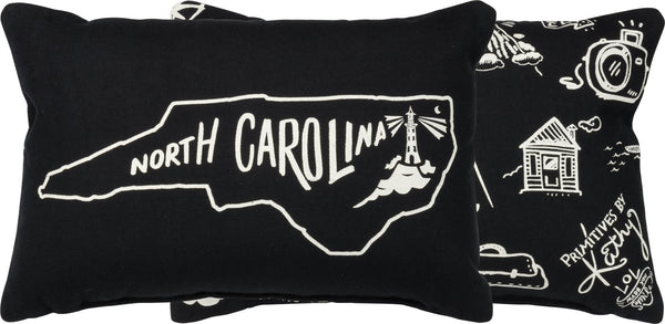 North Carolina Throw Pillow | 12x8 | Modern Coastal Decor | Beach House Decor | North Carolina State