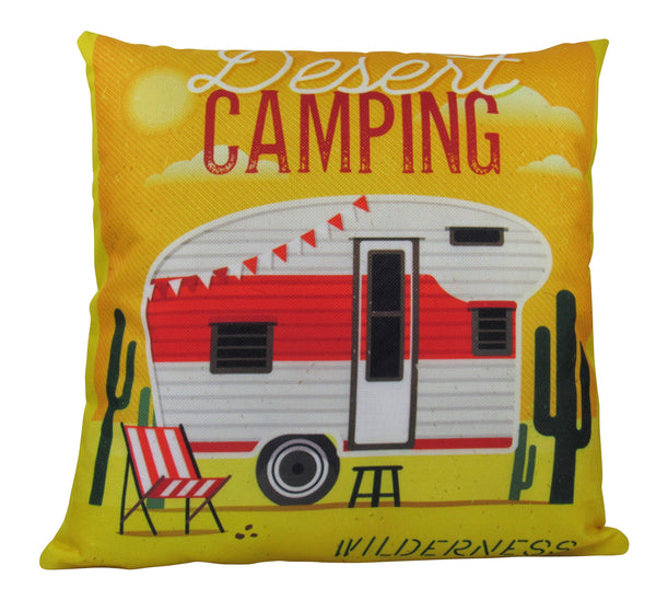 Happy Camper | Pillow Cover | 18 x 18 Pillow | Camper Decorations | Throw Pillow | Vintage Camper