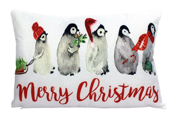 Penguin merry Christmas Pillow Cover | Home Decor | Throw Pillow | Penguin Christmas Pillow