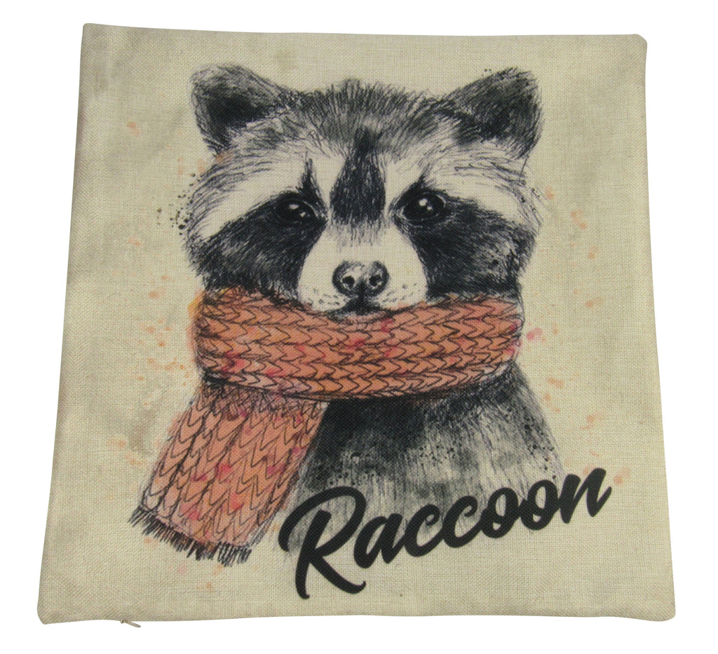 MINI: Raccoon Hipster | Cover and Insert | Raccoon Pillow | Wilderness | 8 x 8 | Forest Animal | Animal Love | Lumbar Pillow