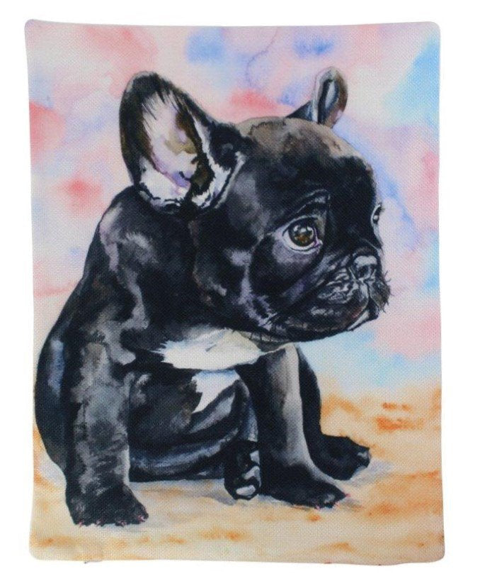 French Bulldog Puppy Watercolor | Pillow Cover | Dogs | Home Decor | Custom Dog Pillow | Dog Mom