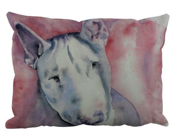 Dog | Bull Terrier Watercolor | Pillow Cover | Dogs | Home Decor | Custom Dog Pillow | Bull Terri  | Dog Lover Gift | Dog Mom Gift | Pillows
