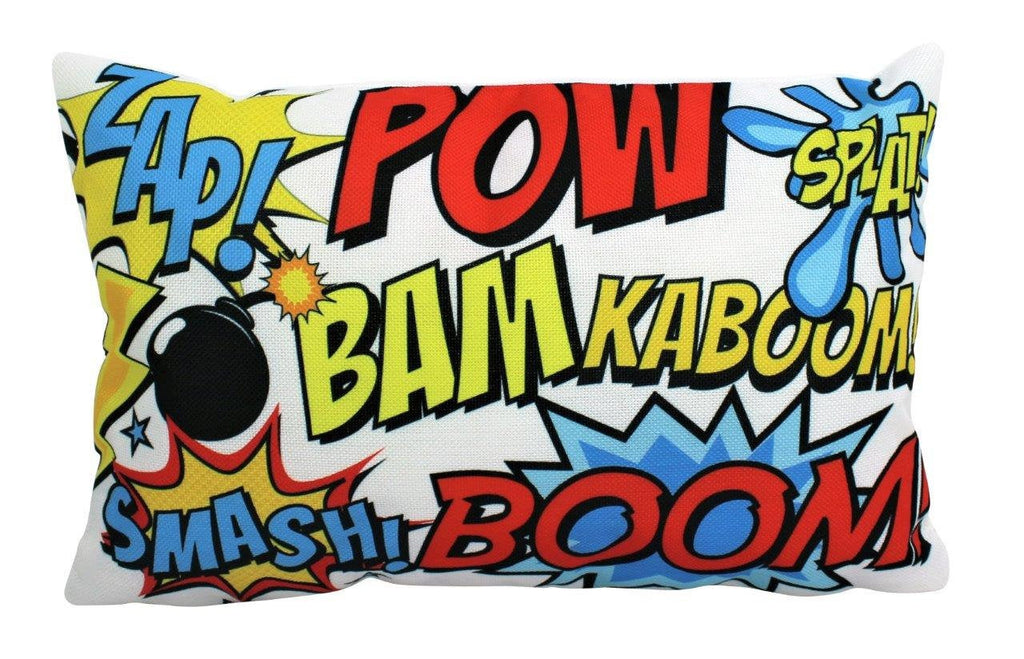 Super Hero | BASH BOOM BAM | Anime | 12 x 18 | Fun Gifts | Pillow Cover | Home Decor | Throw Pillows | Happy Birthday | Kids Room | Lumbar