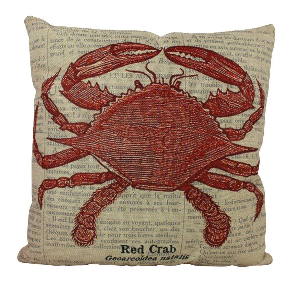 Red Crab | Pillow Cover | 18 x 18 | Throw Pillow | Home Decor | Modern Coastal Decor | Nautical