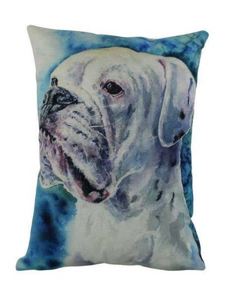 White Boxer Watercolor | Pillow Cover | Dogs | Home Decor | Custom Dog Pillow | Dog Mom | Boxer Mom