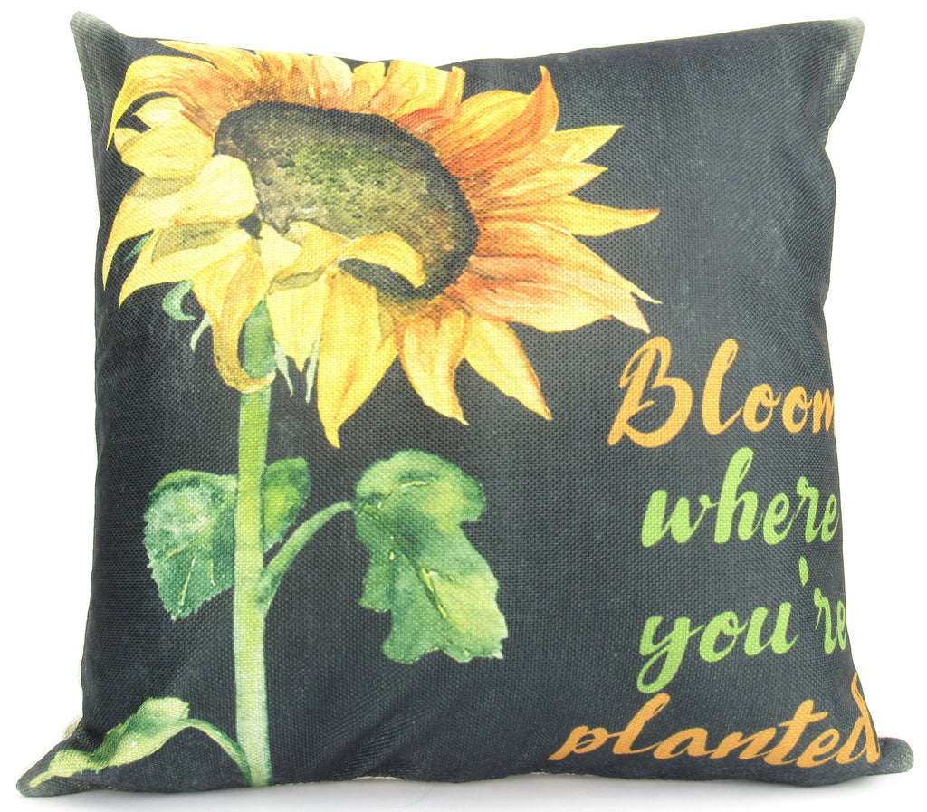 Bloom Where You're Planted | Pillow Cover | Sunflower | Home Decor | Throw Pillow | Sunflower Decor | Motivational Quotes | Room Decor