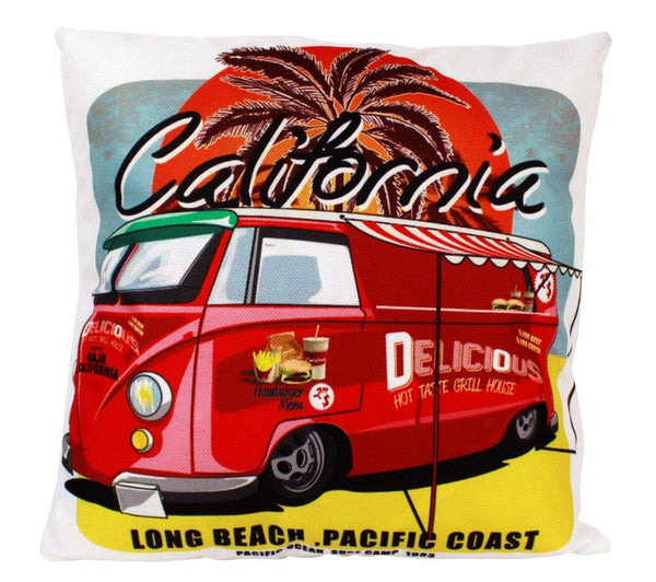 Baja California Food Bus Pillow Cover | Southern California Peace Bus | Throw Pillow | Long Beach