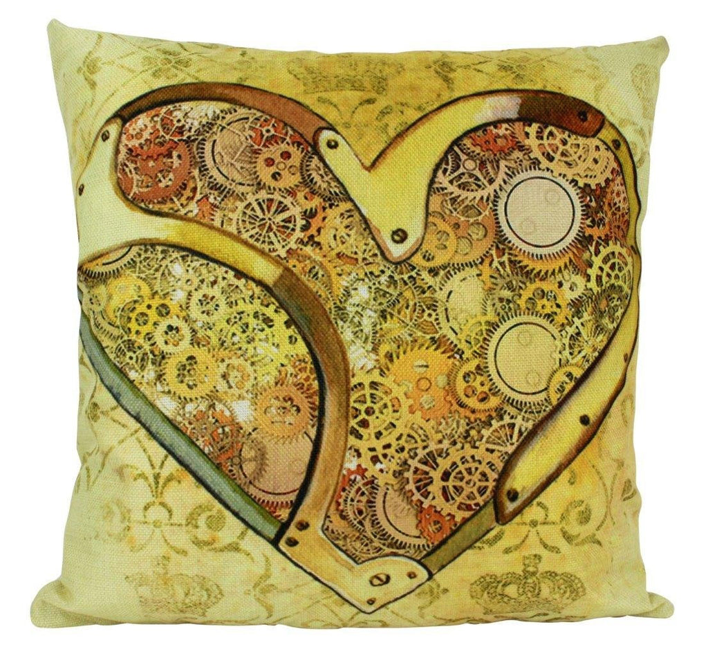 Steam Punk Heart and Gears Pillow Cover | Home Decor | Throw Pillow | Golden Heart Steam Punk Pillow