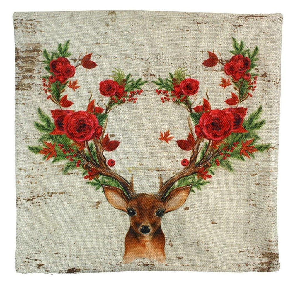 Christmas Deer | Pillow Cover | Throw Pillow | Deer Decor | Poinsettia Wreath | Rustic Christmas Decor | Rustic Home Decor | Grandma Gift