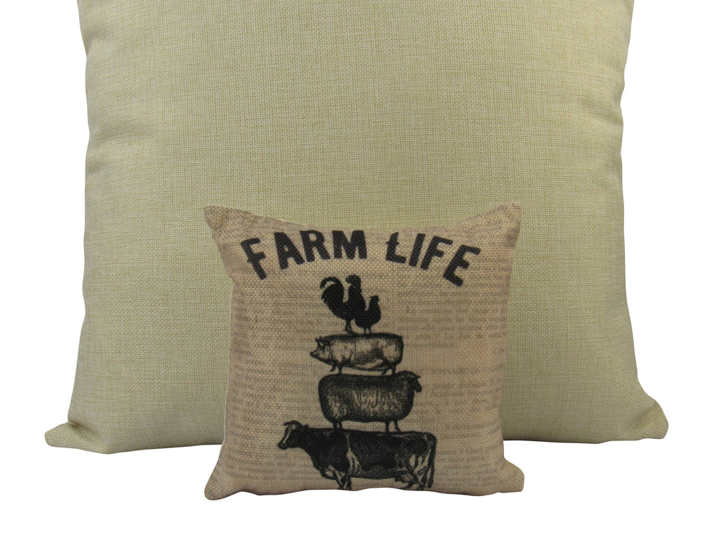 MINI Farm Life | Cover and Insert | 8 x 8 | Home Decor | Primitive Decor | Farmhouse | Rustic Farmhouse | Tiny House Decor | Lumbar Pillow