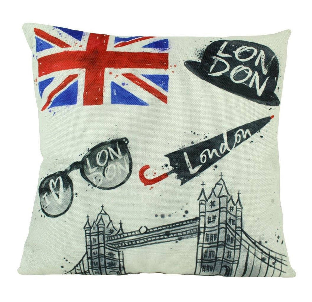 London | Pillow Cover | Red Bus | Throw Pillow | Home Decor | London Bridge | Vintage Pillow