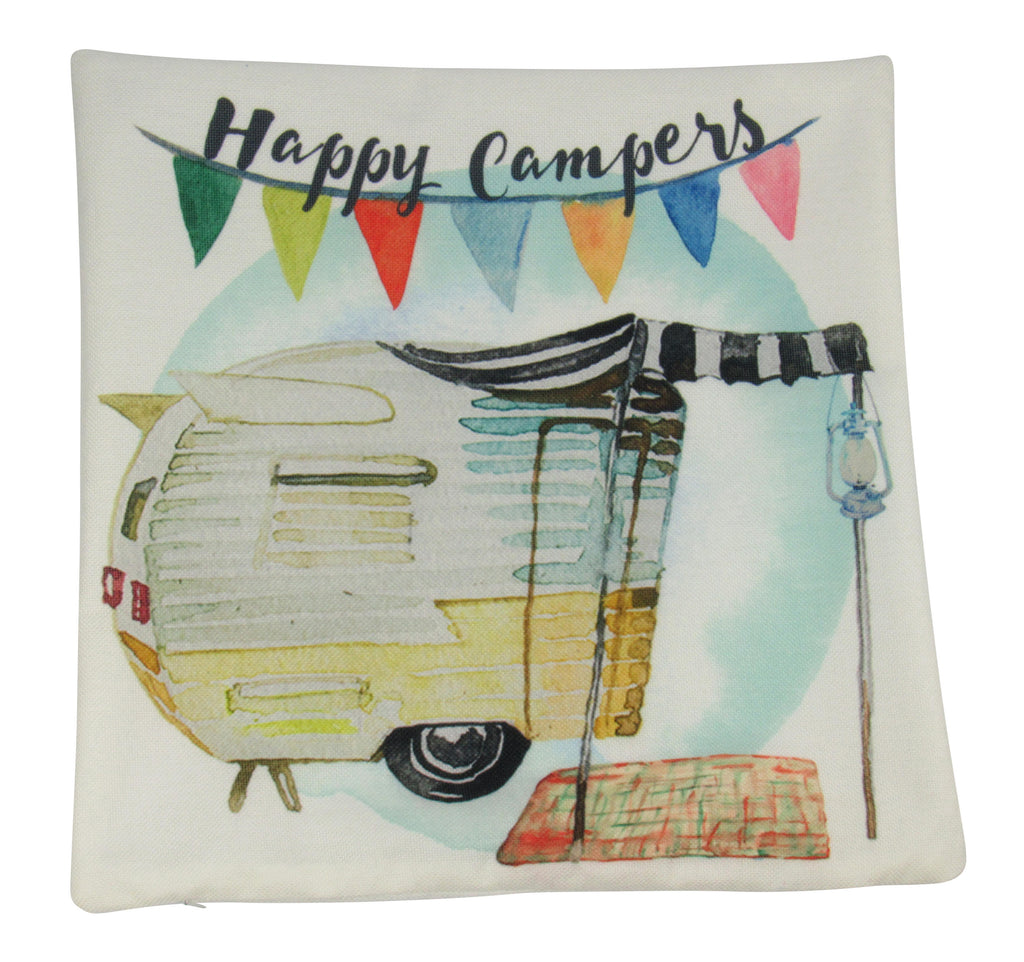 MINI: Happy Camper | Cover and Insert  | 8x8 Pillow | Camper Decorations | Throw Pillow | Vintage