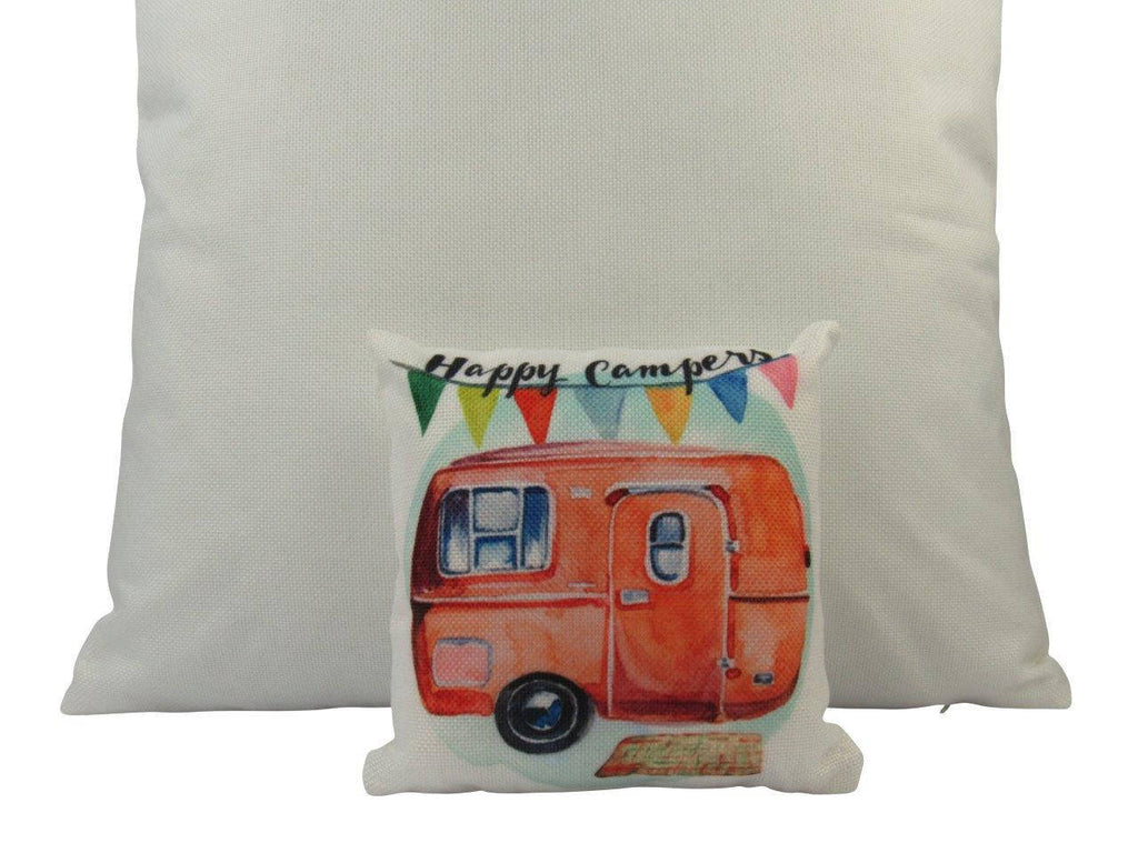 MINI: Happy Camper | Cover and Insert | 8 x 8| Camper Decorations | Throw Pillow | Vintage Camper | Tiny House Decor | Lumbar Pillow
