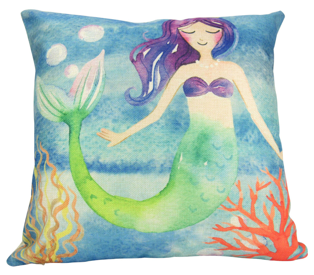 Mermaid | Mermaid Art | Nursery Decor | Pillow Cover | Home Decor | Throw Pillows | Happy Birthday | Under the Sea | Kids Room Decor