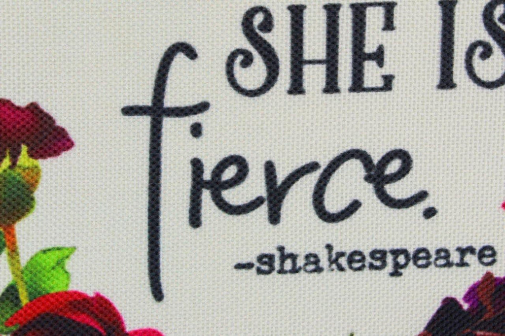 Though She be but Little | Pillow Cover | Shakespeare Quotes | She Be Fierce | 18 x 18 |Throw Pillow