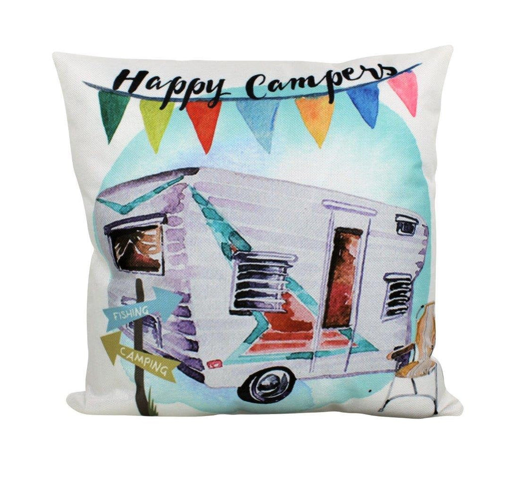 Happy Vintage Camper | Pillow Cover | 18 x 18 Pillow | Camper Decorations | Throw Pillow | Trailer
