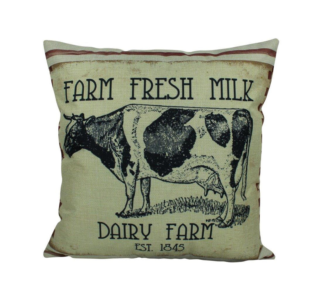 Farm Fresh Milk Dairy Cow Pillow Cover | Farmhouse Pillow | Farmhouse Decor | Home Décor