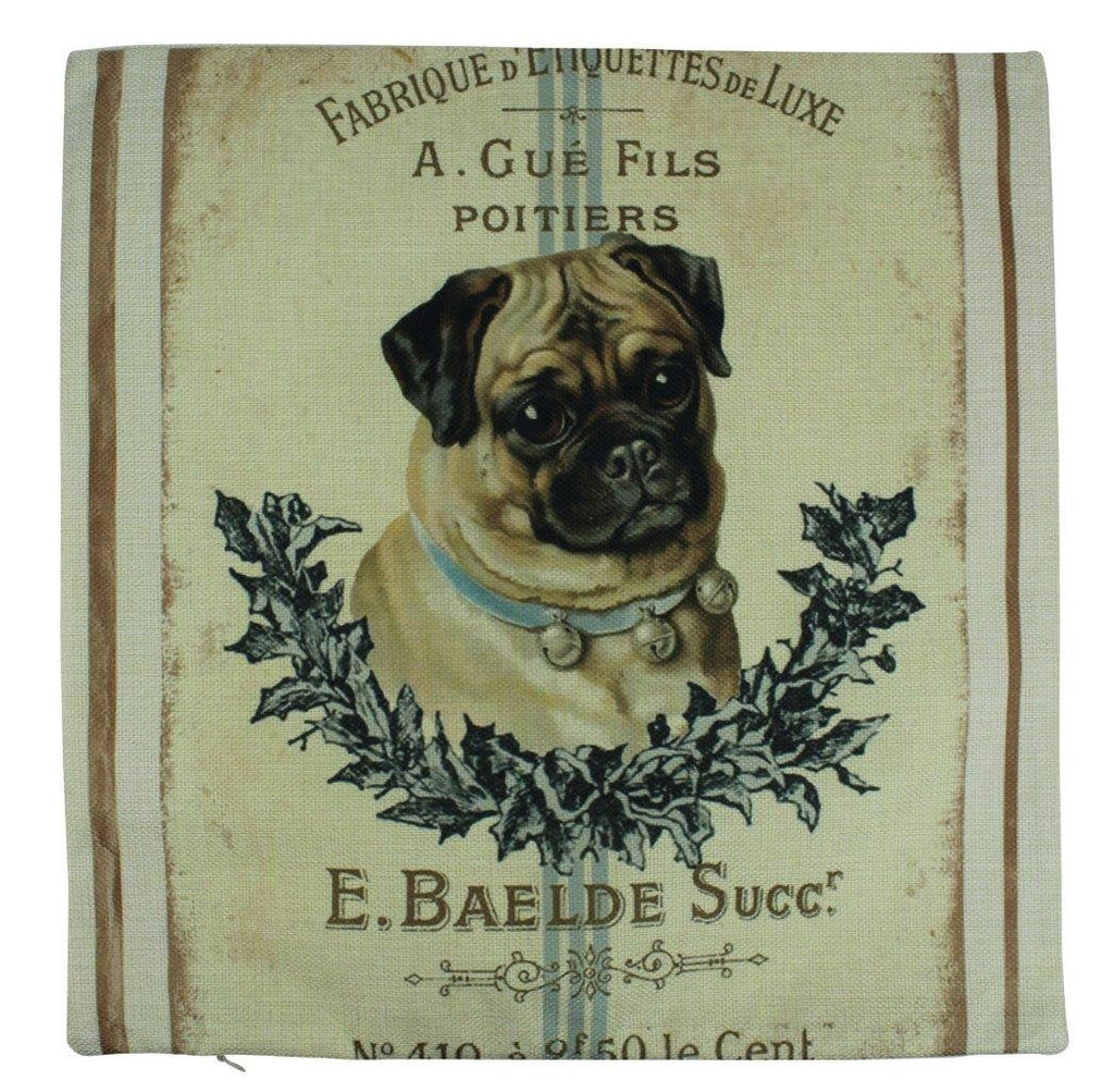 Dog | Vintage French Pug Design Pillow Cover | Farmhouse Decor | Home Décor |   Dog Mom Gift | Dog Lover Gift