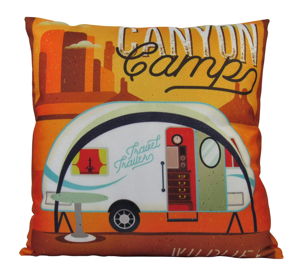 Happy Camper | White | Pillow Cover | Camper Decorations | Throw Pillow | Vintage Camper | Camper Gifts | Camper Decor | Gift Ideas