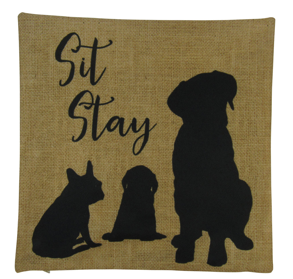 Sit Stay | Labrador | Pug | Pillow Cover | Gift for Dog Lover | Throw Pillow | Home Decor | 18x18