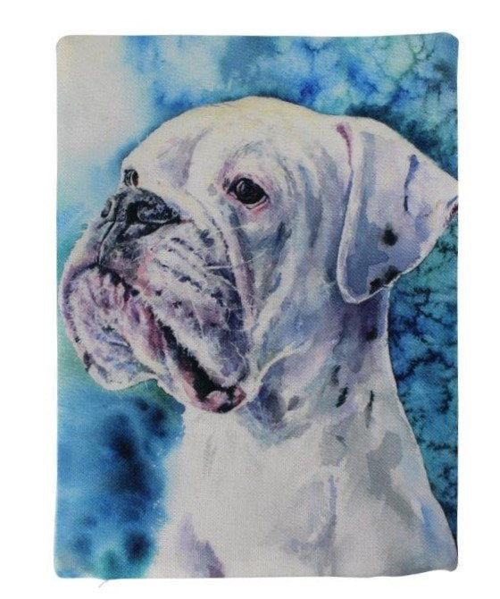 Dog | White Boxer Watercolor | Pillow Cover | Dogs | Home Decor | Custom Dog Pillow | Boxer Mom  | Dog Lover Gift | Dog Mom Gift | Pillows
