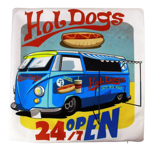 California Beach Hotdog Stand Pillow Cover | Southern California Peace Bus | Throw Pillow