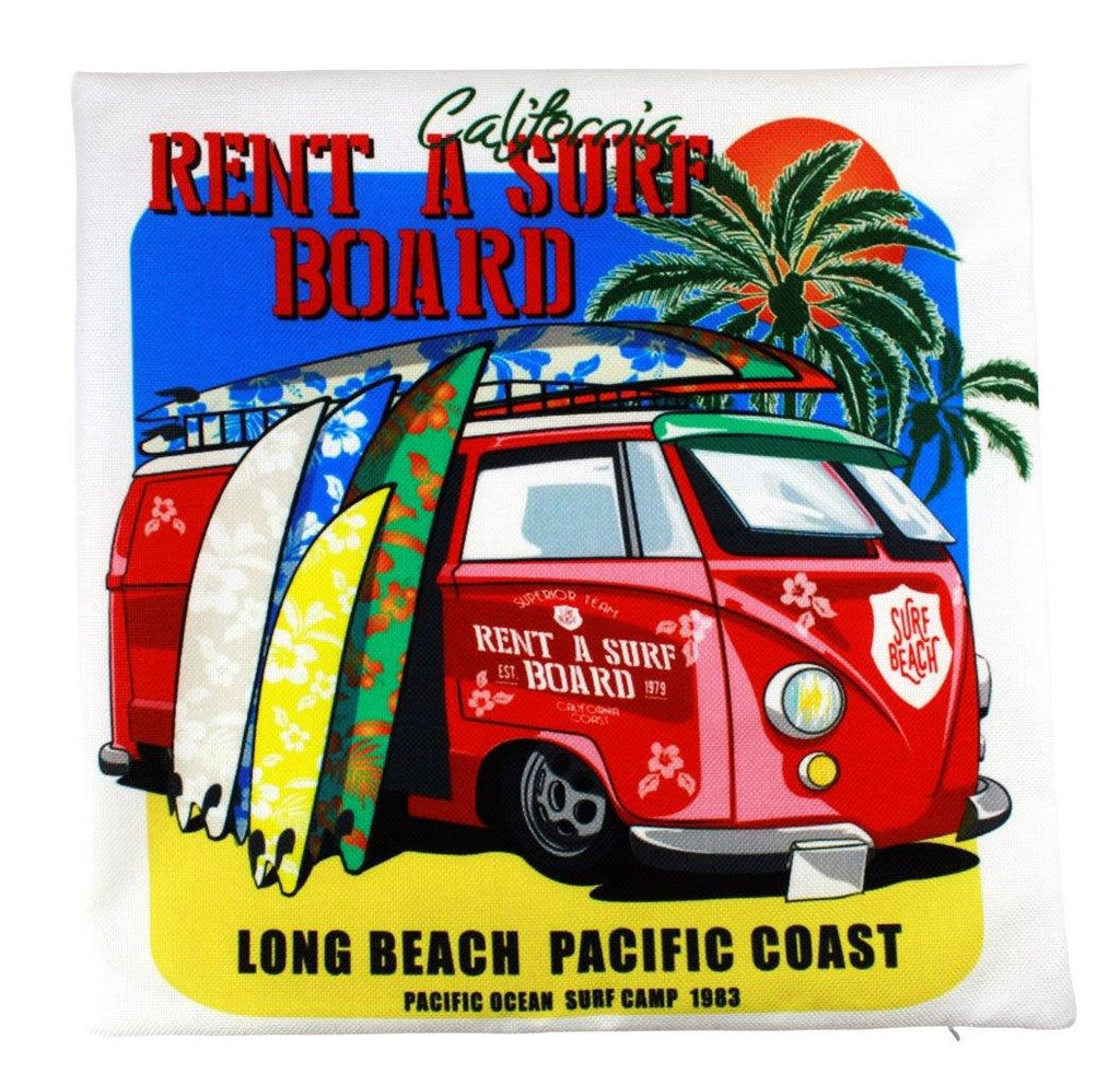 California Rent a Surf Board Pillow Cover | Southern California Peace Bus | Throw Pillow |Long Beach