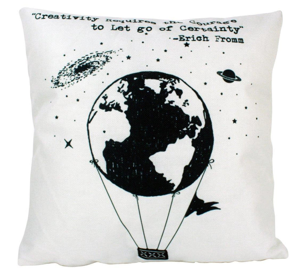 Creativity requires courage to let go of Certainty Pillow Cover | Hot Air Balloon Pillow | Famous Quotes | Motivational Quotes | Room Decor
