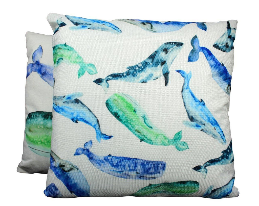 Blue Whales | Pillow Cover | 18 x 18 |Throw Pillow | Home Decor | Modern Coastal Decor | Pillow | Na