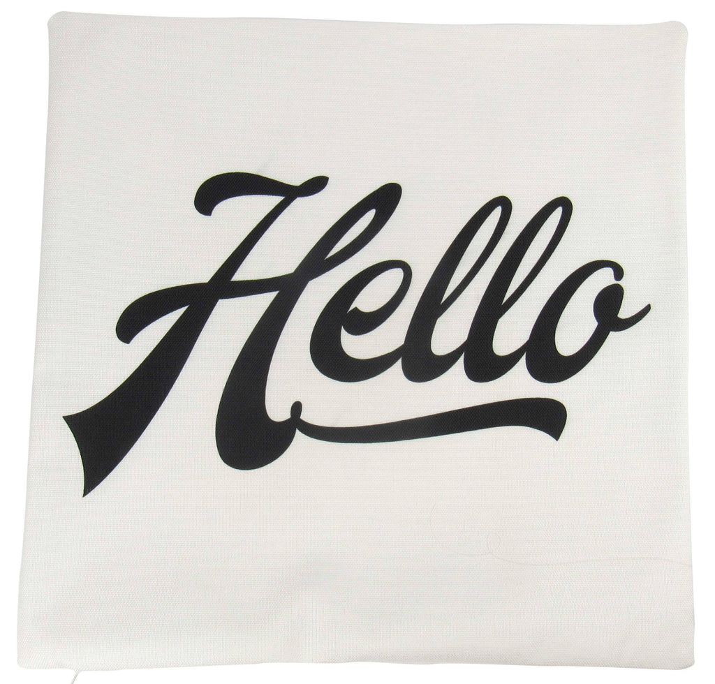 Hello | Pillow Cover | Hello Sign | Throw Pillow |  Pillow | Retro Decor Ideas | Home Decor | Minimalist | Modern White Pillows | Room Decor