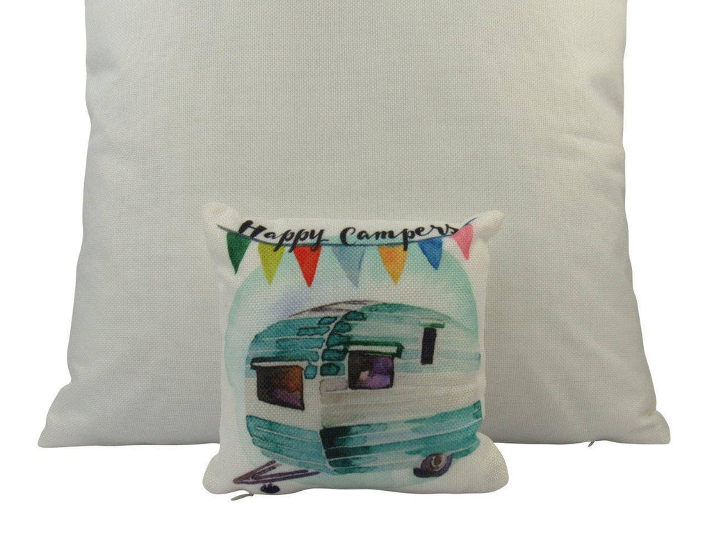MINI: Happy Camper | Cover & insert | 8 x 8 | Camper Decorations | Throw Pillow | Vintage Camper | Tiny House Decor | Lumbar Pillow