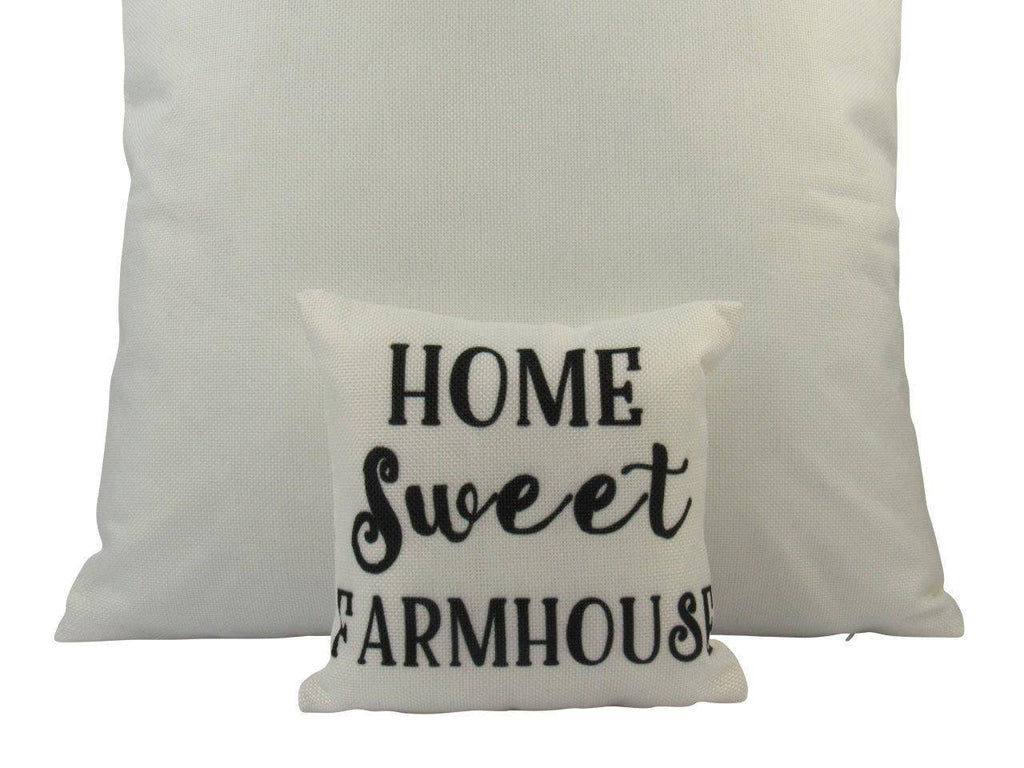MINI: Home Sweet Farmhouse | Cover and Insert | 8 x 8 | Home Decor | Primitive Decor | Farmhouse | Tiny House Decor | Lumbar Pillow