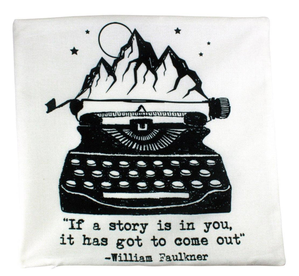 If a story is in you it has got to come out Pillow Cover | Vintage Typewriter Pillow |18 x 18 Pillow