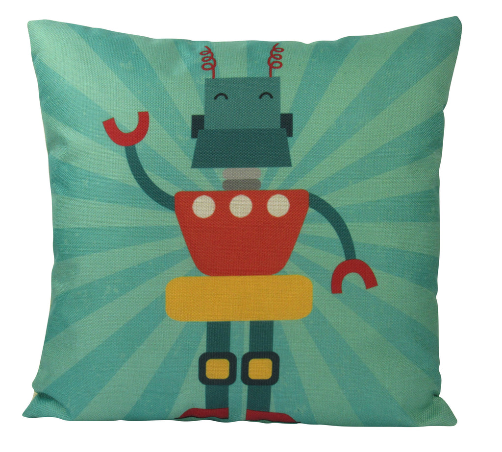 Robot | Teal |  Fun Gifts | Pillow Cover | Home Decor | Throw Pillows | Happy Birthday | Kids Room Decor | Kids Room | Room Decor