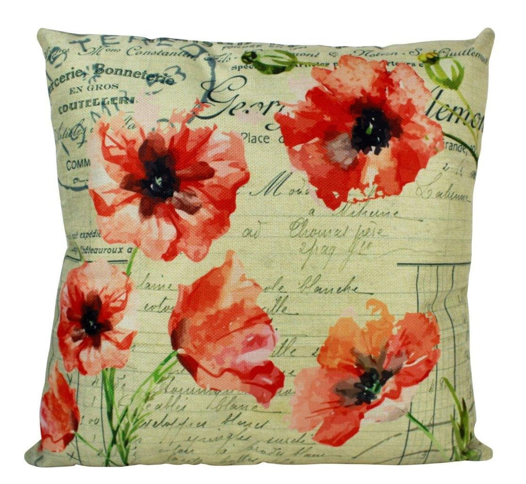 Red Poppies Vintage Pillow Cover | Field Poppies Vintage Print | Farmhouse Decor | Home Décor