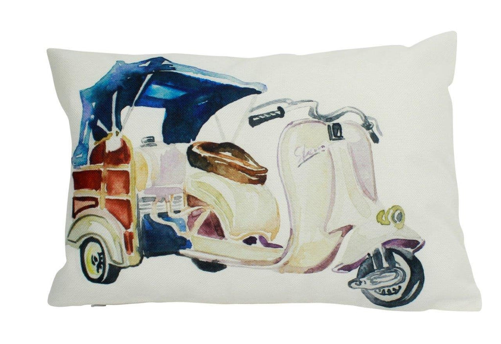 Vintage Moped | Pillow Cover | Travel Quote | Throw Pillow | 18 x 18 | Enjoy the Ride | Pillow
