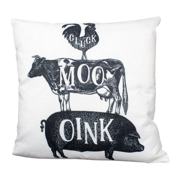 Stacked Animals Rooster Cow Pig | Farmhouse Oink Moo Cluck Pillow | Rustic Cotton Pillow